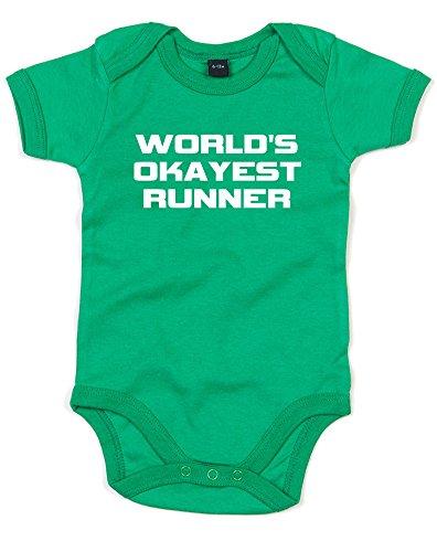 Brand88 World's Okayest Runner, Printed Baby Grow - Kelly Green/White 12-18 - Twitter Runners World