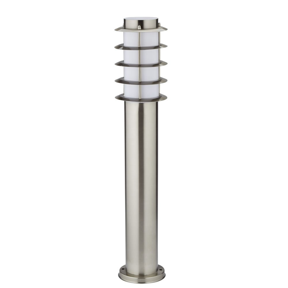Biard Belfort 450mm Stainless Steel 'Grill Effect' IP44 Outdoor Bollard Light with Free E27 JCB 6W LED Bulb in Warm White - Post Lighting Garden Pathway Commercial Driveway