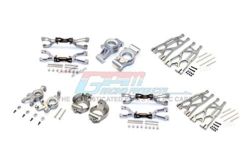 Traxxas X-Maxx 4X4 Upgrade Parts Aluminum Front & Rear Upper + Lower Arms + Front C Hubs + Front Kncukle Arms Set - 92Pc Set Gray Silver