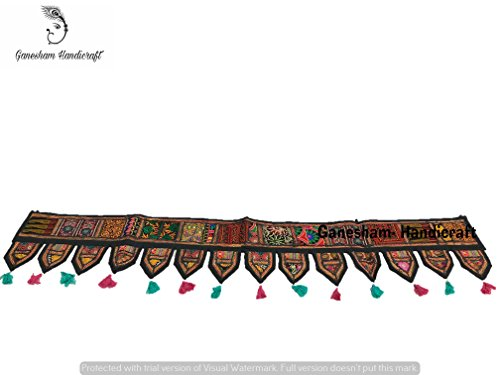 Patchwork Hanging (GANESHAM Indian Cotton Ethnic Wall Hanging Home Decor Vintage Patchwork Door Topper Valances Window Indian Valances Hand Embroidered Patchwork Toran Boho Bohemian Decor Living Room Decor ''80'')