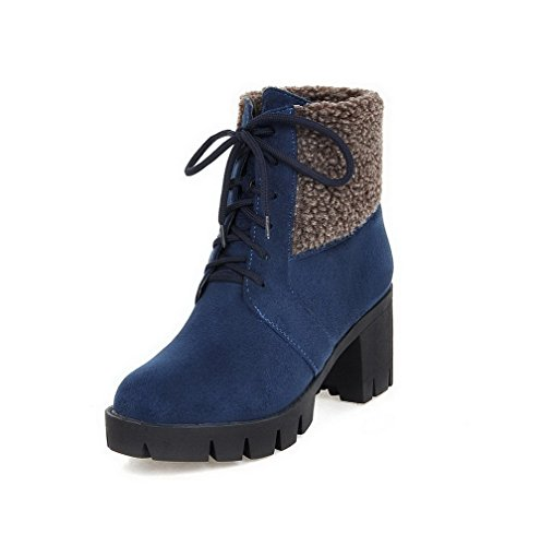 Allhqfashion Women's Low-Top Lace-up Soft Material High-Heels Round Closed Toe Boots Blue kOJYyMz