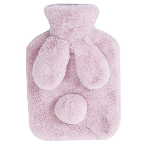 BAOBAO Transparent Hot Water Bottle with Cute Plush Bunny Cover Thin Portable Hot Water Bag for Stomach Warm