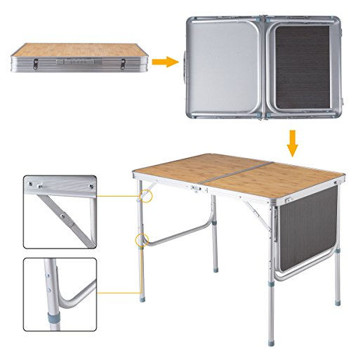 Globe House Products GHP Ultra Lightweight Durable & Stable Heavy Duty Aluminum Camping Folding Table by Globe House Products