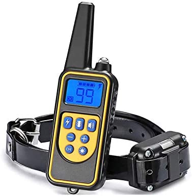 Dog Training Collar, Rechargeable Dog Shock Collar W 4 Training mode LED Light, Beep, Vibration and Shock, 100 Waterproof Training Collar, Up to 2600 Ft Remote Range, Medium and Large Dogs Yellow
