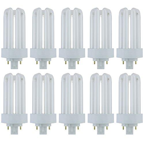 Sunlite PLT18/E/SP35K/10PK 3500K Neutral White Fluorescent 18W PLD Triple U-Shaped Twin Tube CFL Bulbs with 4-Pin GX24Q-2 Base (10 Pack) - Double Twin Tube Cfl Bulb