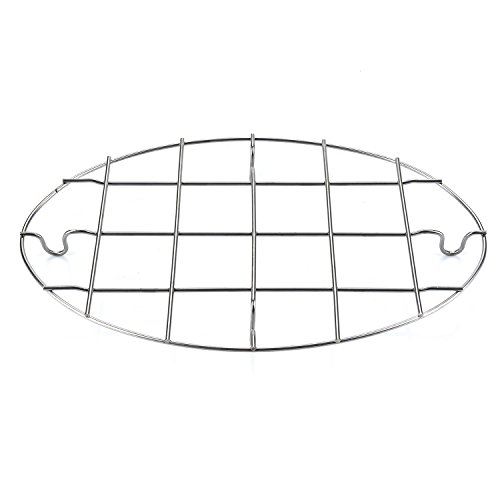 T&B 9.8x6.7 Inch Oval Roasting Cooling Rack 304 Stainless Steel Baking Broiling Rack Cookware 0.8 Inch heigh thick version - Rack Roasting Oval