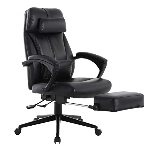 LCH High Back Reclining Executive Office Chair with Footrest, Ergonomic Bonded Leather Computer Desk Chair with Removable Lumbar Support, Height Adjustable, 360°Swivel, Weight Capacity 300 Lbs, Black
