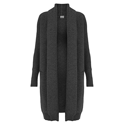 - Celtic & Co Womens Longline Collared Merino Lambswool Knitted Coatigan - Charcoal - Size Large