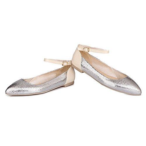 Argento Punta Donna Chiusa Fibbia Puro Flats Ballet Tacco VogueZone009 Basso Luccichio EAvwpvdq