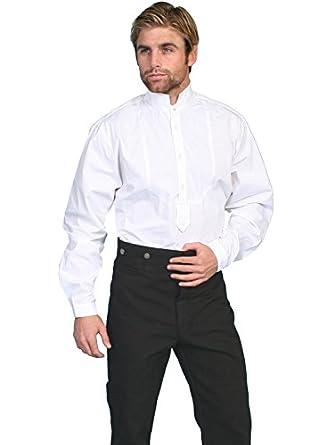 Victorian Men's Shirts- Wingtip, Gambler, Bib, Collarless Wahmaker By Scully Mens Wahmaker High Collar Long Sleeve Shirt $67.83 AT vintagedancer.com