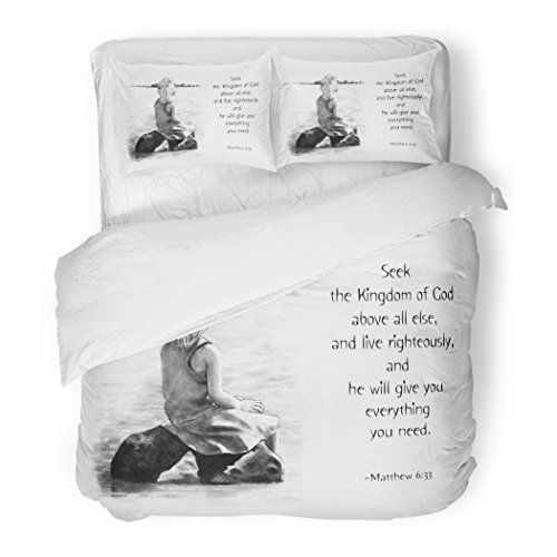 SanChic Duvet Cover Set Scripture Pencil Drawing of Child Painting with Bible Verse Christian Decorative Bedding Set with 2 Pillow Shams Full/Queen Size by SanChic