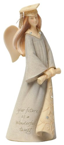 Foundations Graduation Mini Angel Stone Resin Figurine, 4.25""