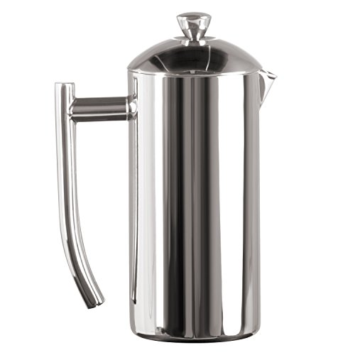 Frieling USA Double Wall Stainless Steel French Press Coffee Maker with Patented Dual Screen, Polished, 17-Ounce (Cardinals Glass Pitcher)