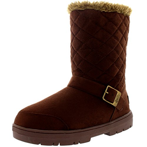 Womens One Buckle Classic Short Quilted Waterproof Winter Snow Rain Boots - Brown - 8 - BRO39 AEA0246 (Winter Quilted Boots)