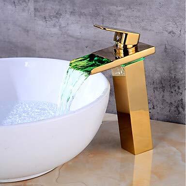 Mangeoo Centerset Ceramic Valve One Hole gold, Bathroom Sink Faucet Led Bath Taps