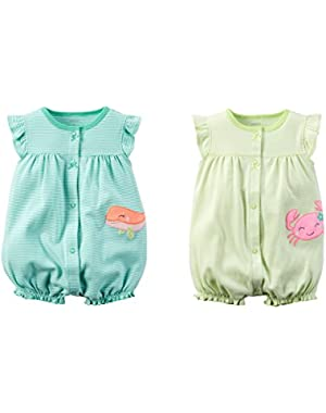 Baby Girls Cotton Romper Set - Sea Life