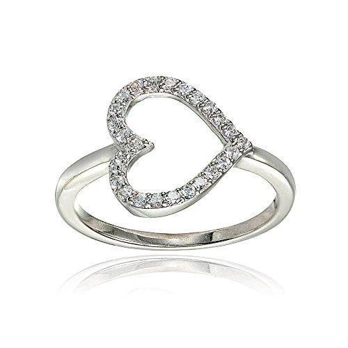 Sterling Silver Cubic Zirconia Sideway Heart Ring, Size 7