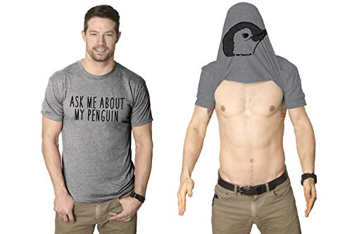 Crazy Dog T-Shirts Ask Me About My Penguin Flip Up T Shirt Funny Penguins Tee Costume Shirt (Heather Grey) - S]()