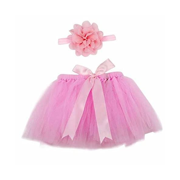 Babymoon (Set of 2) Princess Tutu New Born Baby Photography Shoot Props Costume (Baby Pink)