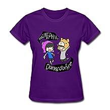 SHUNAN Women's Dan Phil Animated T-shirt Size XXL Purple