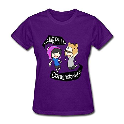 SHUNAN Women's Dan Phil Animated T-shirt Size L Purple