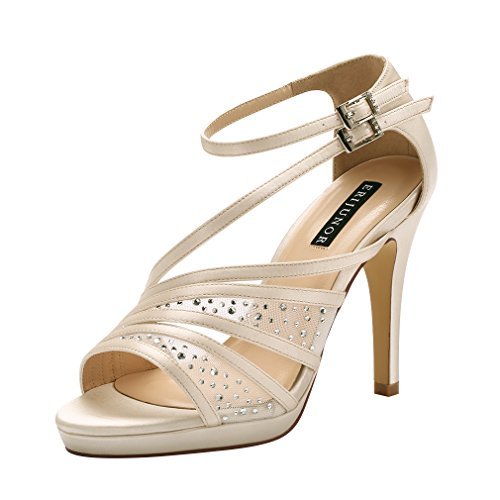 ERIJUNOR E2333A Women Comfortable Platform Rhinestones Lace Mesh Satin Prom Wedding Shoes Sandals Dance for Brides Bridesmaid Champagne Size 6