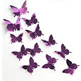 Lavany Wall Stickers,DIY 3D Butterfly Removable Wall Sticker For Kids Room Home Decor Art Mirror decorations (D)