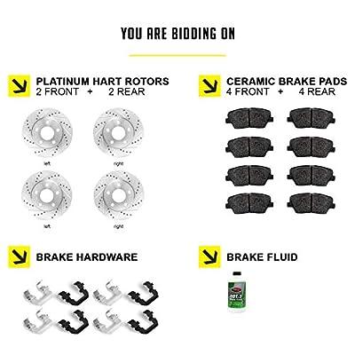 [FULL KIT] PLATINUM HART DRILLED SLOT BRAKE Rotors Kit AND CERAMIC PAD PHCC.4417302: Automotive