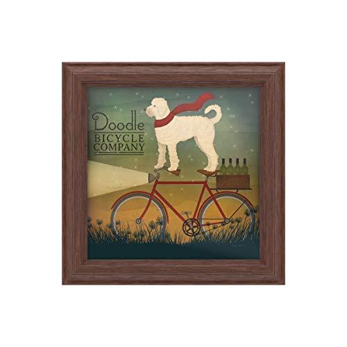 Trademark Fine Art White Doodle on Bike Summer by Ryan Fowler, Wood Frame 11x11, Multi-Color (Best Value Hybrid Bike)