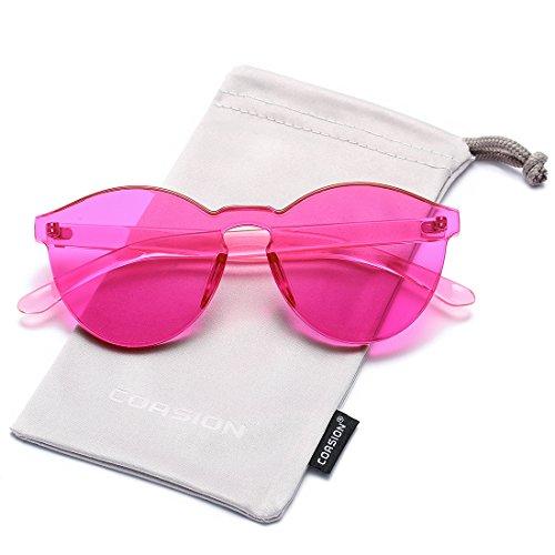 One Piece Design Rimless Orange Glasses for Women Round Fashion Colorful Sunglasses (Rose Pink)