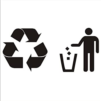 Trash and recycling vinyl sticker decals for trash recycle bin can black bdm