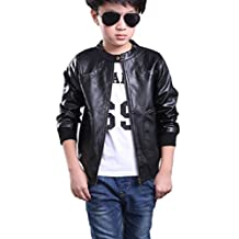 YoungSoul Kids Boys Stand-Collar Faux Leather Motorcycle Jackets Spring & Autumn