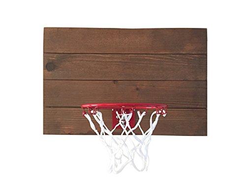 "Indoor Basketball Hoop With American Cedar Wood Backboard & Durable Mini 9"" Basketball Hoop - Very Cool Way To Practice Basketball & Let Off Steam - Easy Installation (Dark Cedar)"
