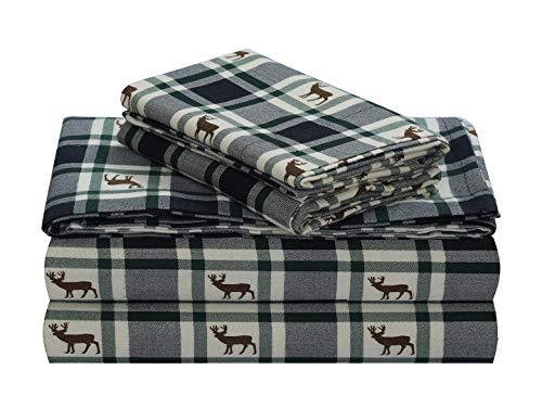 FEATHER & STITCH NEW YORK 100% Cotton Flannel Sheet Set, Deep Pocket - Warm - Super Soft - Breathable Bedding (Queen, Green Deer Plaid) ()