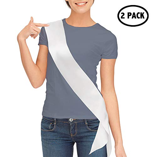 TREORSI Blank Satin Sash, Plain Sash, Party Decorations, Make Your Own Sash, 2 Pack (White) ()