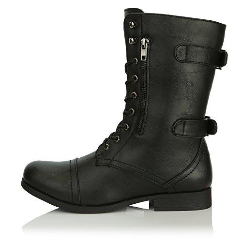 Dailyshoes Womens Military Cinturino Alla Caviglia Con Fibbia Stivali Da Combattimento Stivaletti A Metà Ginocchio, Nero Pu, 5 B (m) Us