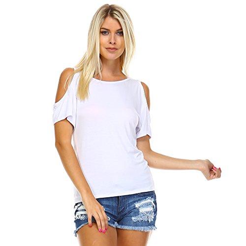 Sleeve Knit Open Short - Iaasc Liev Women's Open Shoulder Short Sleeve Top (2X-Large, White)