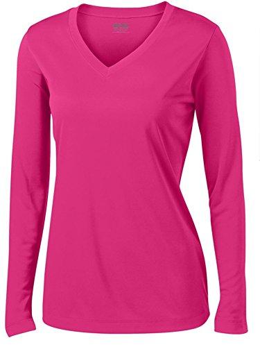 Ladies Wicking T-shirt - Joe's USA tm - Ladies Long Sleeve Moisture Wicking Athletic Shirts, Pink X-Small