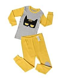 "UniFriend Premium ""Gray Bat "" Boys Shorts 2 Piece Pajama Set 100% Cotton"