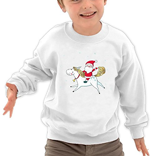 Price comparison product image Puppylol Santa Riding Unicorn Kids Classic Crew-neck Pullover Hoodie White 5-6 Toddler