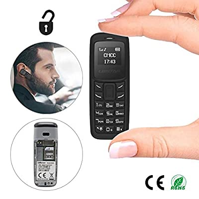 Unlocked Bluetooth Mini Mobile Phones-BM30 GSM Bluetooth Handset Phone Earphone Dialer Support Nano SIM Card 0.66inch(Black)