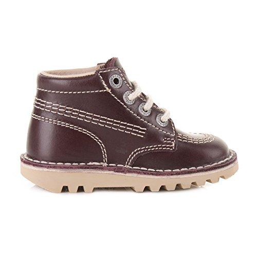 Kickers - bottes hautes enfants en cuir rouge foncéà lacets bottines décontracté - Rouge foncé, Cuir, 22