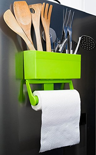 Kitchen Buddy Magnetic Paper Towel Holder for Refrigerator with Multipurpose Storage Rack Organizer (Lime Green)