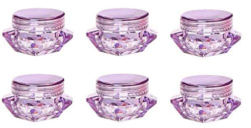 12PCS 3ml  Purple Upscale Empty PS Plastic Square Diamond Sh