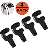 EldHus 4 Pack Black Car Trunk Vehicle Back Seat Headrest Hanger Holder Hook for Bag Purse Cloth Grocery