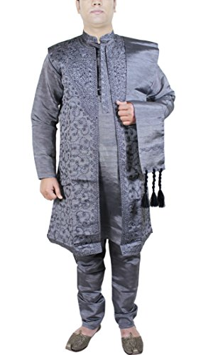 Christmas Gifts For Men Kurta Designer Wedding Sherwani Men Kurta Pyjama 4-Pieces Set -XL by RoyaltyLane