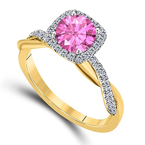(DreamJewels 2.00 CT Created Pink Sapphire Emerald Cut Celebrity Halo Twisted Shank Bridal Engagement Wedding Ring 14k Yellow Gold Finish Alloy for Women's)