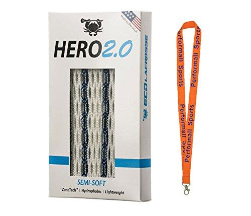 East Coast Dyes Hero Mesh 2.0 ECD Lacrosse Hero2.0 Semi-Soft Lacrosse Mesh Striker Navy Blue with 1 Performall Lanyard