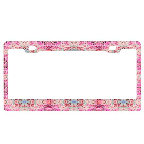 YUMHlicenseplateframeLL Pink Blue Peach Gothic Lacy Tile License Plate Front License Plate (Made of Aluminum) 12X6inch