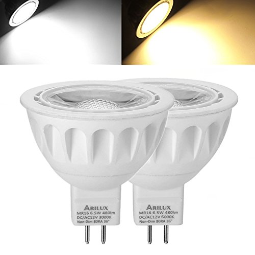 Lights & Lighting - 1x 5x 10x Arilux Mr16 6.5w Smd2835 480lm Led Spotlight Lamp Bulb Non-Dimmable Ac/Dc12v - - Elizabeth Outlet Garden